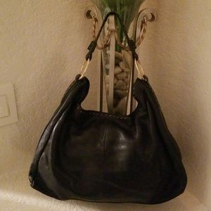 """SIGRID OLSEN"" black leather hobo handbag!"